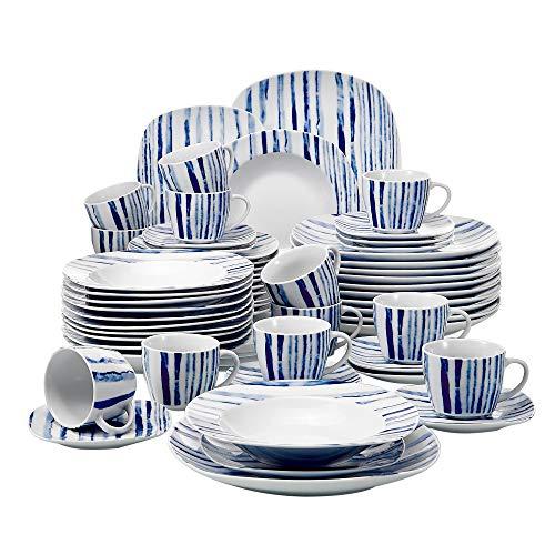 VEWEET Joyce 60pcs Service de Table Porcelaine 12pcs Assiette Plate, Assiette à Dessert, Assiette Creuse, Tasse avec Soucoupes pour 12 Personnes Vaisselles Céramique Design Ligne Bleu