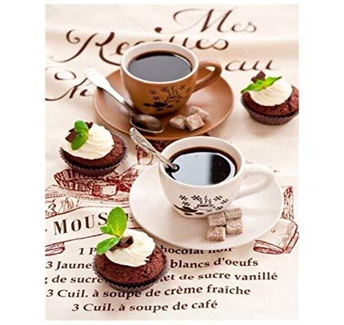 Digitales Bild Kaffee Landschaftsmalerei Leinwand Gemalt Handgemalte Tasse Kunst Kit Diy Geschenk Heimtextilien 40X50Cm