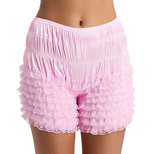 Agoky Damen Unterhose Unterrock Shorts langes Bein Schlüpfer Slip mit Rüschen Spitze Sicherheits Shorts Unterwäsche Leggings Kurz Hose Yoga Tanzen M-XL Rosa M