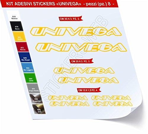 Adesivi Bici UNIVEGA Kit Adesivi Stickers 8 Pezzi -Scegli SUBITO Colore- Bike Cycle pegatina cod.0482 (Giallo cod. 021)