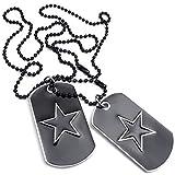 Collar militar - SODIAL(R) Collar de joyeria para hombre, colgante de 2 placas de identificacion militares de pentaculo de estilo del ejercito etiqueta de perro con cadena de 68cm, negro plata