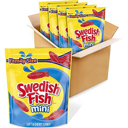 SWEDISH FISH Mini Soft & Chewy Candy, Bulk Halloween Candy, Family Size, 4 - 1.8 lb Bags