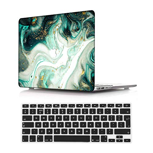 NEWCENT New MacBook Pro 13' Case,Plastic Ultra Slim Light Hard Case UK Keyboard Cover for Mac Pro 13 with/Without Touch Bar 2019 2018 2017 2016 Release(Model:A2159/A1989/A1706/A1708),Marble 51_1