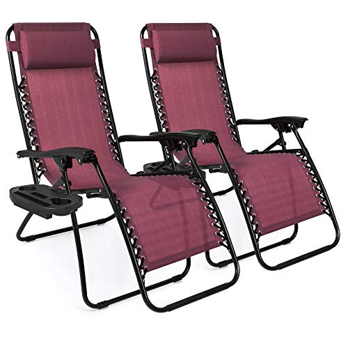 Best Choice Products Set of 2 Adjustable Steel Mesh Zero Gravity Lounge Chair Recliners w/Pillows and Cup Holder Trays - Burgundy