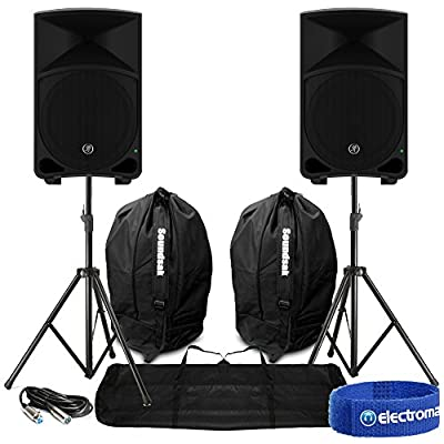 "Electromarket 2x Mackie Thump12 12"" Active Powered Loud Bass DJ PA Speakers Cables Carry Bags"
