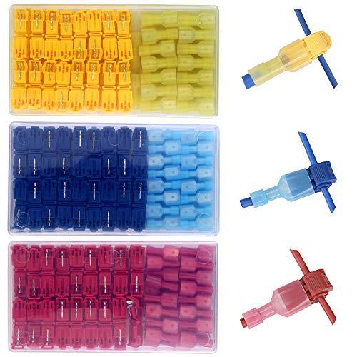 Gebildet180 pcs Conectores eléctricos tipo T Tap: grifos de empalme de cables rápidos con aislamiento de alta resistencia y kit de desconexión rápida macho con aislamiento