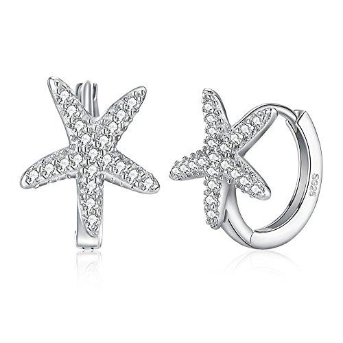 Ecloud Shop Estrella S925 Pendientes de Plata Brillante Pendientes de Aro de Cristal Regalo de La Joyería para Las Mujeres Niñas