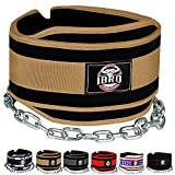 IBRO Advanced Fitness Dipping Belt with Heavy Duty Long Steel Chain   Weighted Dips, Pullups, Bodybuilding, Weight Lifting   Neoprene Waist Support   for Men and Women Khaki