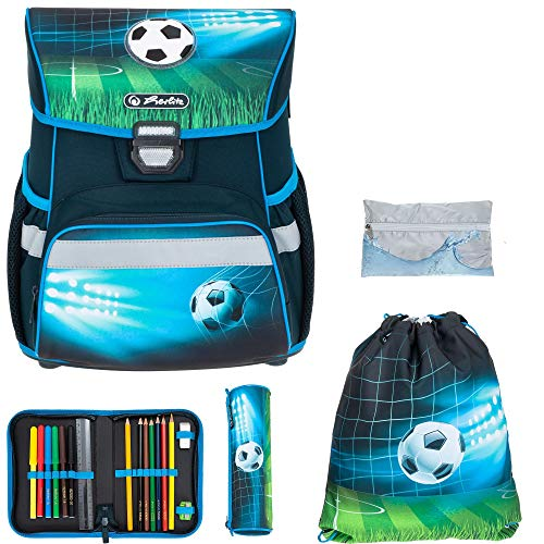 Schulranzen Herlitz Loop Plus Jungen Mädchen Ranzen Tornister Schultasche leicht 5 Teile Set mit Regenhülle (Soccer 756)