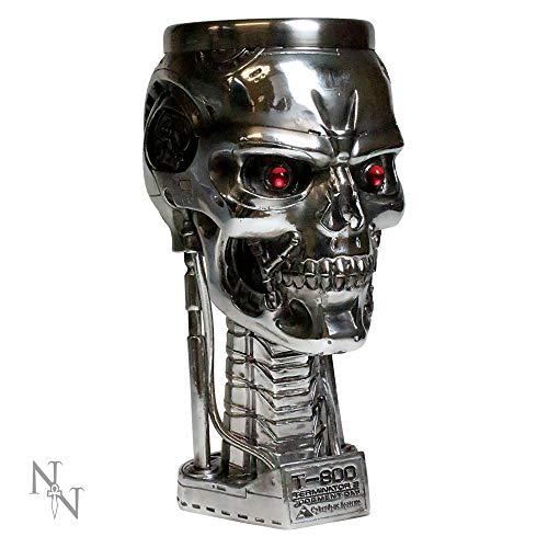 Nemesis Now Terminator - Copa de Cristal (17 cm, Resina, Inserto de Acero Inoxidable), Color Plateado