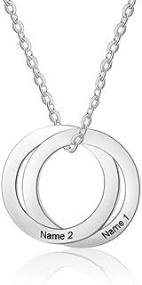 Roapk - Collana con 2 nomi, con ciondoli a cerchio semplice, in acciaio inox, idea regalo per le donne