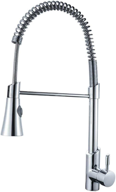 GONGFF Zeitgenssische Spüle Wasserhahn Einhebel-Doppelfunktion Pull-Down-Sprühkopf Gemischte Verwendung von heiem und kaltem Wasser Leicht zu reinigen Geeignet für Restaurantfamilien