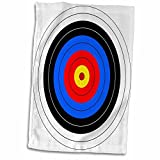 3D Rose Target with Red Yellow Black White and Blue Rings-Archery-Goal-Sport-Game-Illustration Towel, 15' x 22', Multicolor