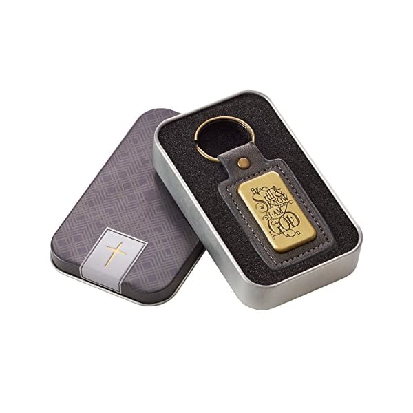 Mens Faux Leather Keychain Christian Car Accessories & Inspirational Gifts for Men in Gift Tin