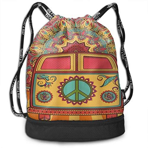 OPLKJ Hippie Vintage Mini Van signe de paix imprimé sac à dos à cordon, Sport Gym Sackpack Bundle Pocket sac à dos voyage sac de rangement