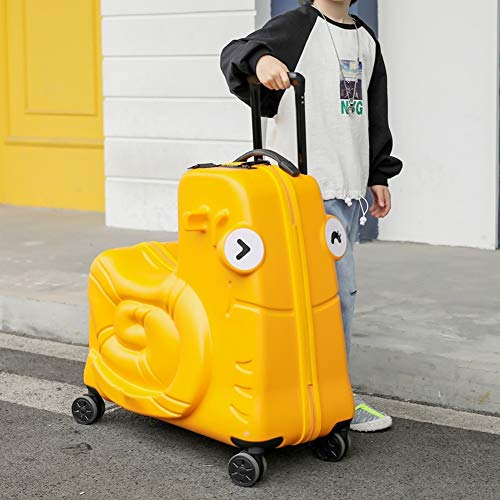 AAGYJ Children's LuggageChildren's Suitcases, Fashion Ride-On Travel Suitcase, Kids Luggage Set, Student Trolley Boarding Suitcase Perfect School Learning Gift,Yellow,20inch
