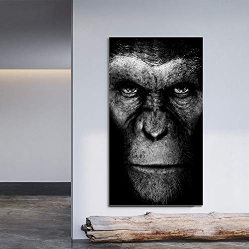 N / A Poster Animal Wall Art Black Gorilla Canvas Painting Poster and Living Room Home Decoration Wall Picture Frameless 50x90CM