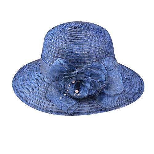 LOPILY La Moda Casquillo al Aire Libre Señoras Flores de Verano Sombrilla Color sólido Protección UV Gorras Gorra de Playa Plegable Sombrero para el Sol Sombrero de Elegante Fiesta (Armada)