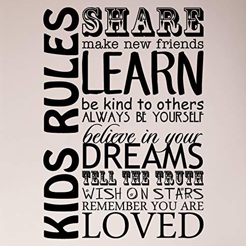 Kinderen Regels delen Maak Nieuwe Vrienden Leer Wees Vriend Geloof in Je Dromen Vertel Waarheid Wens Op Sterren Wees Jezelf Muursticker