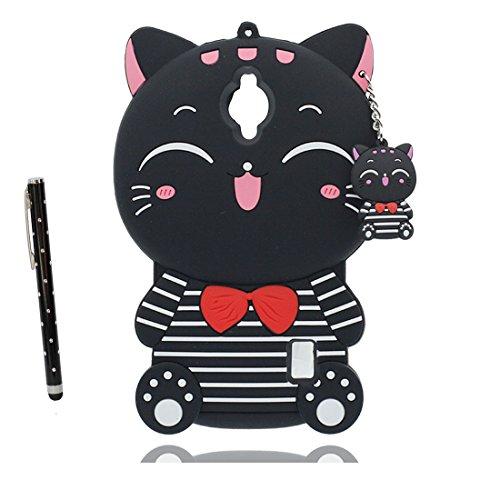 YuanYuZhongPhoneSky Huawei Y635 Custodia, Huawei Y635 Copertura, Case morbida di TPU silicone Design unico Carino Case Cover +penna di tocco (Nero Banda Gatto)