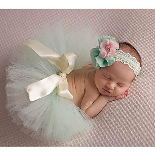 PZNSPY pasgeboren baby fotografie rekwisieten kinderen baby foto rekwisieten accessoires met bloem hoofdband baby rok peuter fotografie kleding S