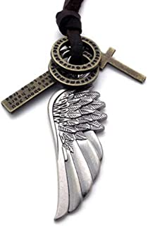 jonline24h Mens Vintage Angel Wing Cross Pendant Brown Leather Cord Necklace Chain, Silver