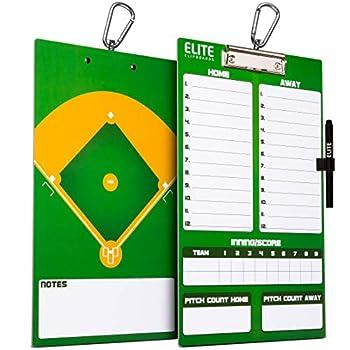 Elite Clipboards Dry Erase Baseball Coaches Clipboard | Double-Sided Baseball Marker Board