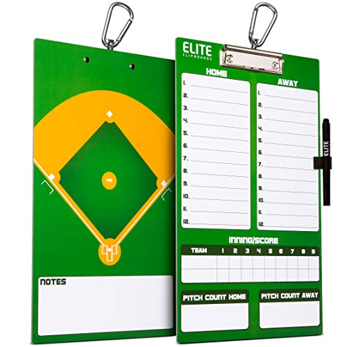 Elite Clipboards Dry Erase Baseball Coaches Clipboard | Double-Sided Baseball Marker Board
