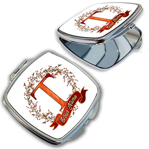 BRGiftShop Personalized Custom Name Autumn Fall Leaves Acorn Wreath Monogram Letter T Compact Pocket Cosmetic Mirror