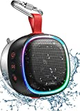 Bluetooth Speaker with RGB Lights, LENRUE IPX7 Waterproof Portable Shower Speaker w/HD Sound, TWS Pairing, Bass, 20H Playtime, Suction Cup, True Wireless Stereo Speaker for Outdoor Party, Travel, Bath