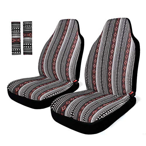 INFANZIA Car Seat Protector Baja Blanket Front Car Seat Covers with Belt Covers Universal Fits Car, Truck, SUV, Van, 4Pcs, Black and Red