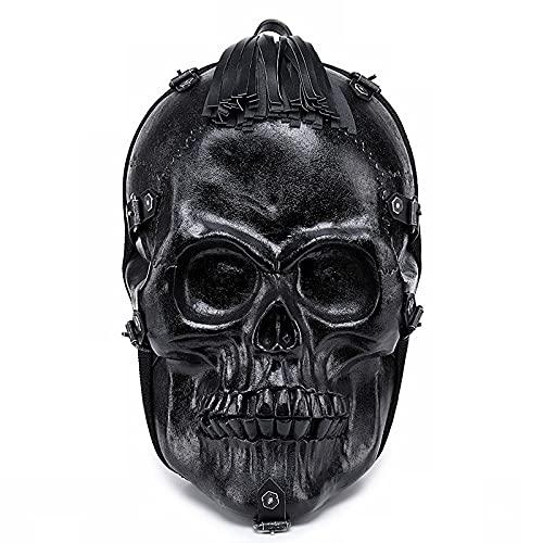 ZHAOMIAO Mochila Skull 3D Halloween Black Rock Bolso de hombro PU Cuero Borlas Bolso Hombres Mujeres Mochilas escolares para computadora portátil de gran capacidad 45 * 31 * 22cm 1