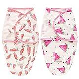 SaponinTree Pucksack Baby Wickeldecke für Neugeborene von 0-6 Monate, 2er Pack Universal Verstellbare Schlafsack Decke für Säuglinge Babys Neugeborene (Rosa)