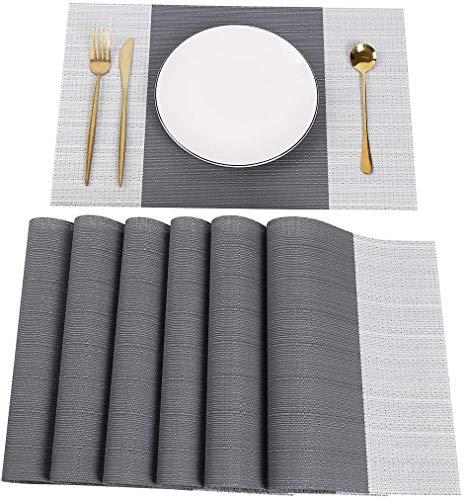 Juego de 6 manteles individuales de 30 x 45 cm, lavables, antideslizantes, para la mesa del comedor (gris)