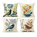 All Smiles Lienzo Pájaros Floral Manta Funda de Almohada Funda de Cojín al Aire Libre para Sofá de Jardín18x 18Lino y Algodón, Verano Flores, Juego de 4