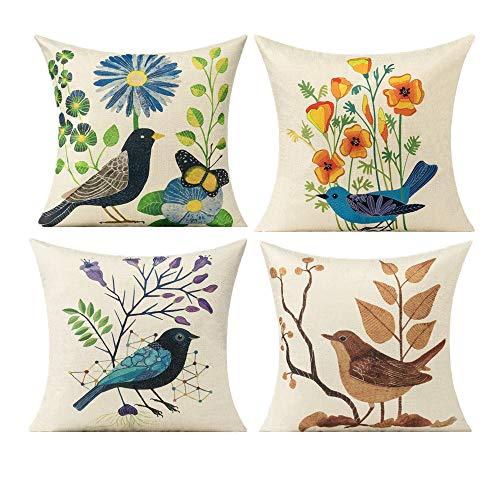 All Smiles Outdoor Birds Throw Pillow Covers for Patio Furnitures Sunbrella Décor Vintage Decorative Cushion 18x18 Set of 4 Porch Outside Garden Bench Pillows for Couch Sofa