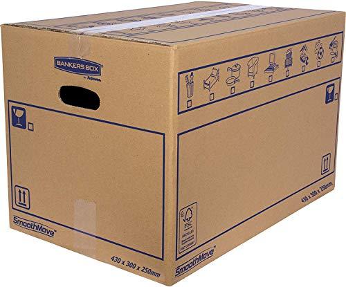 Bankers Box 6208301 Pack 10 Cajas de Cartón 43 x 30 x 25 cm con Asas para Mudanzas, Almacenaje y Transporte Ultrarresistentes, Canal Simple Reforzado (Talla M) 32 Litros