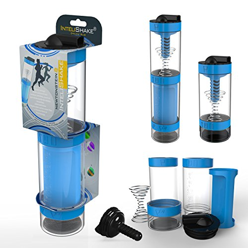 Intelishake - Multi-Compartiments à Puce protéine/entraînement/agitateur jus Bouteille (2 x 500ml) avec de l'eau du Filtre de Carbone pour Le Sport, l'exercice et la Salle de Gym - Cyclone Bleu