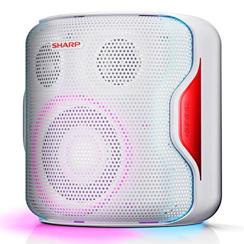 SHARP PS-919 (WH) Partylautsprecher, 14 Stunden Wiedergabezeit, Bluetooth, TWS: Koppeln eines weiteren Gerätes, Multicolor-Lichtshow mit verschiedenen Modi, Ultra-Bass-Einstellung, 130 Watt