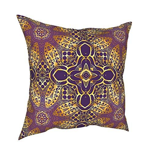 Q&SZ Sweatshirt Purple Mandala Bohemian Asian Spiritual Motif Indian Style Ethnic Elegance Universe Symbol Image Gold Various Specifications Fashion Pillow - No Inserts Included