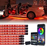 Xprite 4PCS Car Underglow Exterior and 4PCS Interior Bluetooth...