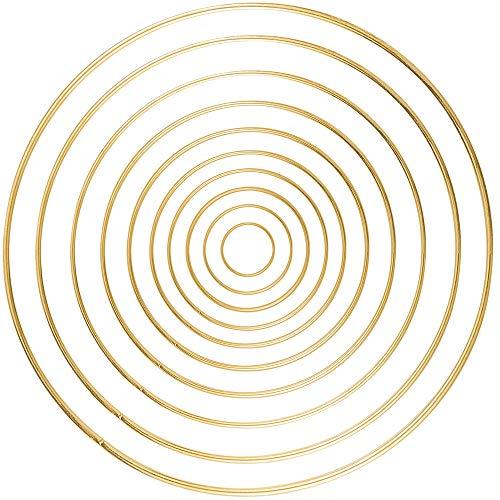 Sntieecr 10 Pieces 10 Sizes Metal Floral Hoop Set Macrame Gold Craft Hoop Rings for DIY Craft Wreath (3 inch, 4 inch, 5 inch, 6 inch, 7 inch, 8 inch, 9 inch, 10 inch, 11 inch and 12 inch)