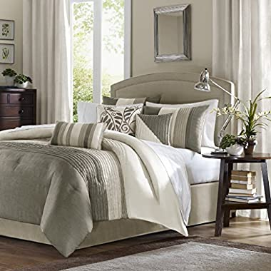 Madison Park Amherst Queen Size Bed Comforter Set Bed in A Bag - Khaki, Ivory, Pieced Stripes – 7 Pieces Bedding Sets – Ultra Soft Microfiber Bedroom Comforters