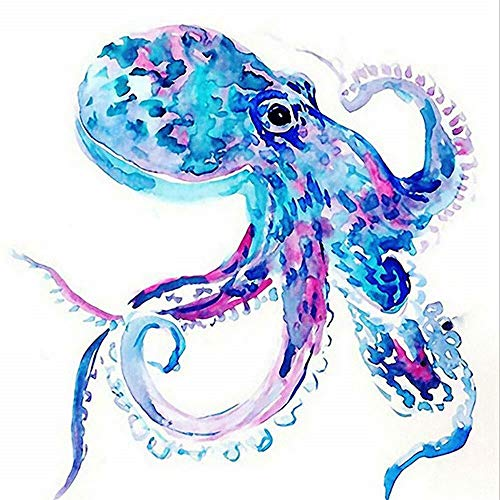 Diy Oil Painting By Numbers,Blue Purple Octopus Art PBN Kit For Adults Girls Kids Christmas 16X20Inch [Wooden Frame]