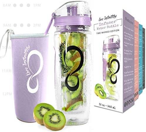 Live Infinitely 32 oz Fruit Infuser Water Bottles With Time Marker Insulation Sleeve Recipe product image