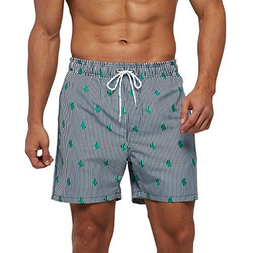 Arcweg Costume da Bagno Uomo Fodera in Mesh con Tasche Asciugatura Rapida Pantaloncini da Spiaggia Nuoto Idrorepellente con Coulisse Elastica Vita CalzonciniBeach Sciolto Casual Verde S(EU)