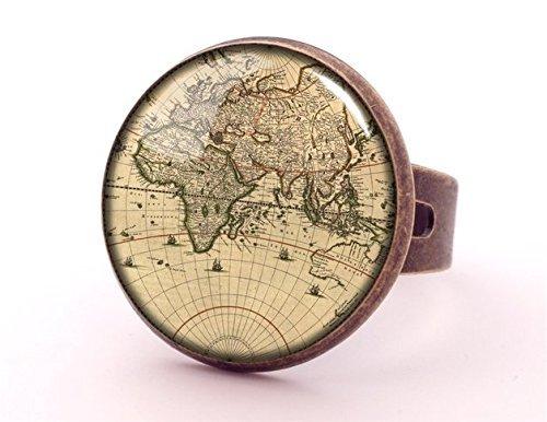 Anillo de cabujón con diseño de mapamundi para mujer, anillo de dedo, joyería popular, anillo de fotos, joyería de bronce