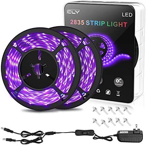 CLY 33ft LED UV Black Light Strip Kit 600 Units UV Lamp Beads 12V Flexible Blacklight Fixtures product image