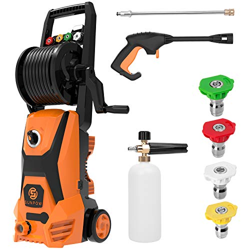 Power Washer, SUNPOW Pressure Washer 2500 Max PSI 1.8GPM Electric Portable High Pressure Cleaner Machine with 4 Nozzles, Detergent Tank and Hose Reel, for Homes, Cars, Driveways, Fences, Patios