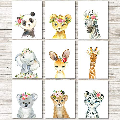 9 Pieces Watercolor Jungle Animals Wall Art Prints Unframed Watercolor Animals Prints Posters Nursery Wall Decor Kids Bedroom Decorations Animal Themed Birthday Party Supplies